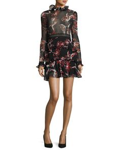 French+Floral+Ruffle-Trim+Mini+Dress+by+NICHOLAS+at+Neiman+Marcus.