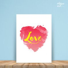 Watercolor Love art watercolor Heart Shabby Chic Heart by OkawiArt