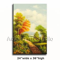 Large Village Oil Painting Landscape Oak Tree Grove Lake 24x36 Canvas Wall Art $65.00  . Discover more paintings available at eBay store http://stores.ebay.com/Aqiangs-Art-Studio