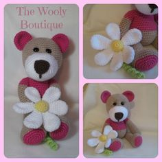cute bear with flower