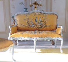 Hand painted 1:12 Inch Scale Chinoiserie Couch by Maritza Miniatures, Etsy. Beautiful work.