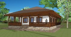 Sunt frumoase proiectele de case tradiționale românești concepute de arhitectul Adrian Păun | Adela Pârvu - Interior design blogger Village House Design, Village Houses, Porch House Plans, Design Case, Traditional House, My House, Gazebo, New Homes, Exterior