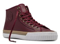 PF  Flyers Center Hi Leather- Oxblood/Tan