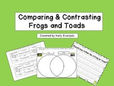 Comparing & Contrasting Frogs and Toads - This is a great cut and paste activity for students to compare and contrast frogs and toads and complete a Venn Diagram! There is also a creative writing sheet included!