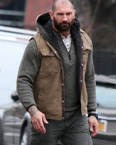 Get you own style statement by wearing this classy Brown Vest. Dave Bautista, Bald Men With Beards, Beard Model, Brown Vest, Masculine Style, Cotton Vest, Hooded Vest, Beard Styles, Mens Clothing Styles