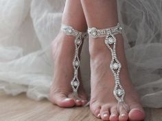 Rhinestone barefoot, Beach wedding barefoot sandals, FREE SHIP Barefoot Sandals, Sexy, Yoga, Anklet, Bellydance, blush flexible wrist