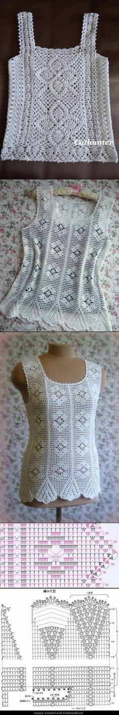 One looks like it's filet crochet. Patterns are too much for my brain to handle (this second), but I like to have these patterns for stitch count ideas when shaping things. Débardeurs Au Crochet, Pull Crochet, Crochet Shirt, Crochet Diagram, Crochet Woman, Crochet Cardigan, Filet Crochet, Irish Crochet, Crochet Crafts