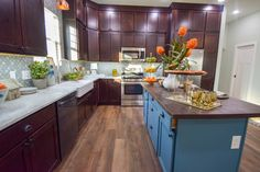 A Colorful Urban Retreat that was recreated from the ground up. This house was built and designed on Good Bones Season 4 Episode To shop products from this house, check out the 2 Chicks and a Hammer website. Hgtv Tv Shows, Good Bones, Season 4, Home Decor Styles, Color Inspiration, Home Kitchens, Kitchen Remodel, New Homes, House