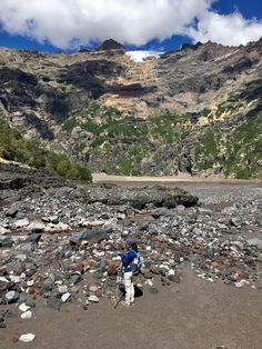 Hiked to the base of Sierra Velluda in Chile today. Scale is incredible...the glacier/peak is still 6000 ft above where we're standing.