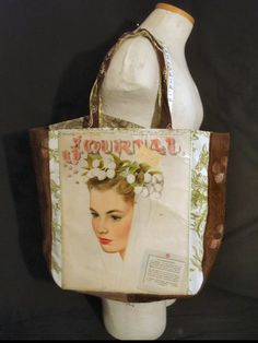 Breathtaking Ladies' Home Journal from 1945!!!  ORIGINAL magazine cover reDesigned into a reTroToTe!  99% reCycled-reUsed-rePurposed... 100% reDesigned & reTro!  All hand designed and hand sewn.  $50.00 each.