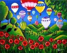 Hot Air BalloonsRed Poppies  Colorful Fun Whimsical Folk Art Giclee Print