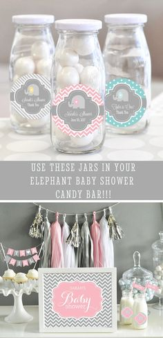 An Elephant Baby Shower or Birthday wouldnt be complete without these adorable Glass Milk Bottles with cute pink elephant themed labels! Serve your