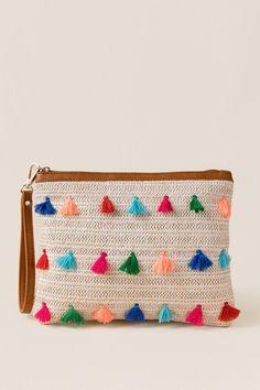 c77bd737eb Maya Straw & Tassel Clutch Wristlet New Handbags, Purses And Handbags,  What's In My