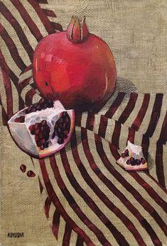 Pomegranate Art, Still Life Art, Painting Flowers, Granada, Art Techniques, Garnet, Pastel, Paintings, Graphics