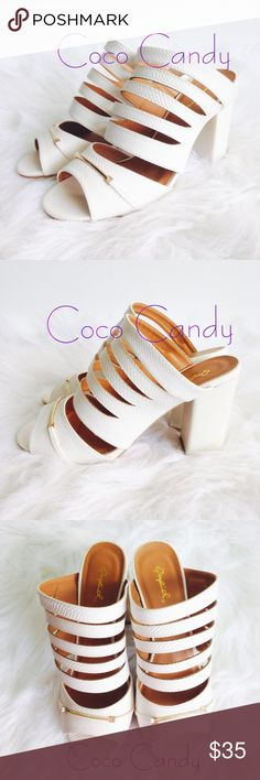 "🆕🦋Qupid High Heels Qupid High Heels✨  New With Tags✨  Size: 7.5  Color: White & Gold  White chunky high heels. Gold hardware on the front with tan lining. Extremely comfortable & super cute. Versatile & can be worn with just about anything✨  Original box included: Height of heel measures 4""m  ⭐️No Trades ⭐No Modeling ⭐️Use The Offer Button ⭐️15% Off 2 Or More Items ⭐️Free Gift With Every Order ⭐️Same Day / Next Day Shipping Qupid Shoes"