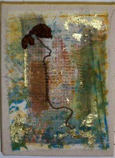 "Dance by Laura Ann Beehler | Cotton, Silk Organza, MX Dye, Found Objects, Hand Stitching 8"" x 6""  #fiber_art"