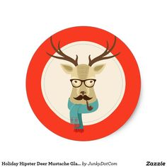 Holiday Hipster Deer Mustache Glasses Pipe Classic Round Sticker @zazzle #junkydotcom July 15 2016
