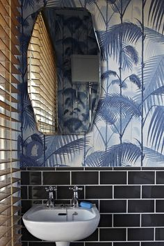 Palm Print, Cole & Son Wallpaper, unexpected color combo, pedestal sink, bath | 11 Things Every Pinterest Lover Can Relate to via @domainehome