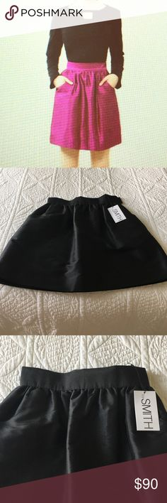 East Village Skirt by Smith The perfect cocktail skirt! NWT! Fitted waist, gathers around waist and slight flare, side pockets, side seam closure, The one for sale is in black. Shell is Thai silk, lining polyester. by smith collection Skirts
