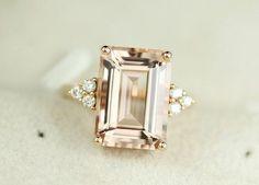 5.5 Karat Morganit Verlobungsring Diamanten 14K