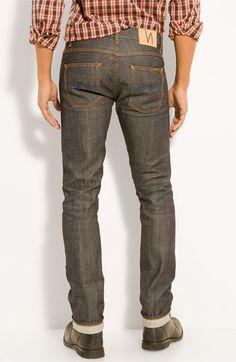 Nudie 'Grim Tim' Skinny Jeans (Open Dry Selvedge Wash)