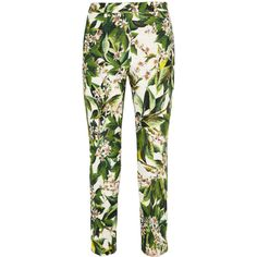 Dolce & Gabbana Orange blossom-print cotton-blend tweed straight-leg... (6.480 UYU) ❤ liked on Polyvore featuring pants, bottoms, trousers, jeans, green, straight leg, orange pants, orange trousers, dolce&gabbana and floral-print pants