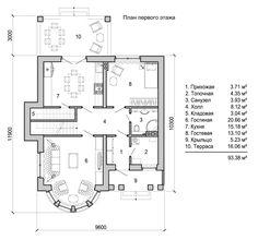 планировка двухэтажного дома с круглым эркером 1 этаж