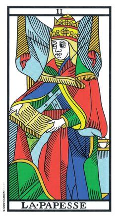 The High Priestess - Tarot of Marseille Vampires, Tarot Major Arcana, Tarot Card Decks, Tarot Reading, Magick, Wicca, Witchcraft, Yin Yang, The Magicians