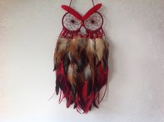 Deep Red/Brown Multi Feather Owl Dreamcatcher  A one-off creation, this stunning Owl is very full and fluffy and soft, made with beautiful