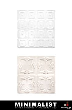 Simple tin panels available in 35 colors for spartan interiors: http://www.americantinceilings.com/color.html?utm_source=pinterest&utm_medium=social&utm_campaign=artisancolors&cpao=138&cpca=pinterest&cpag=social&kw=artisan