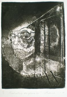 ELAINE d'ESTERRE - Controlling the Gaze, 1/1, 2010, intaglio and drypoint 25x18 cm print, 50x35 cm paper by Elaine d'Esterre at http://elainedesterreart.com and http://www.facebook.com/elainedesterre/ and http://instagram.com/desterreart/