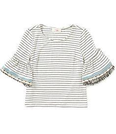 GB Girls Big Girls 716 Striped Embroidered Frayed BellSleeve Top #Dillards