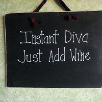 Wood sign for wine lover Diva