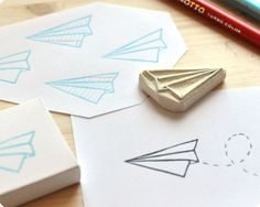 Paper plane hand carved rubber stamp - MemiTheRainbow
