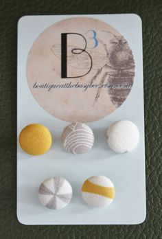 Fabric Covered Buttons Set of 5 Gray and by Boutiqueatthebusybee