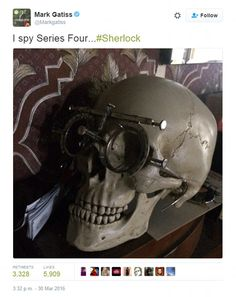 They're back!Sherlock co-creator Mark Gatiss has sent twitter users into a frenzy when he shared a snap of Sherlock's in-house skull sporting bizarre glasses, much to the delight of his 634,000 followers