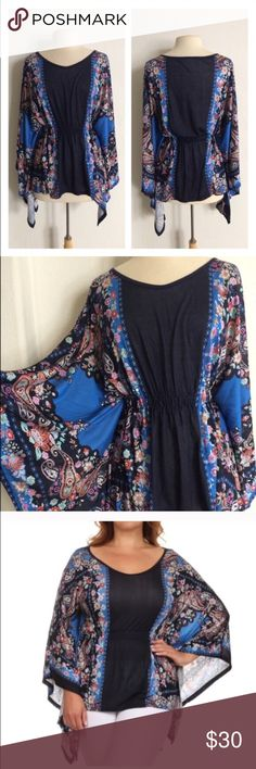 """(Plus) Flutter sleeve top Multicolored top. 96% rayon/ 4% spandex. Elastic waistband. Flutter sleeves. Open sides under the sleeves. Sleeves measure 36"""". Bust stretches beyond measurements.  1x: L: 28"""" B: 42""""  2x: L: 29"""" B: 44"""" Very true to size! Availability: 2x • 2 ⭐️This item is brand new from manufacturer without tags (some are in original packaging).  🚫NO TRADES 💲Price is firm unless bundled 💰Ask about bundle discounts Tops"""