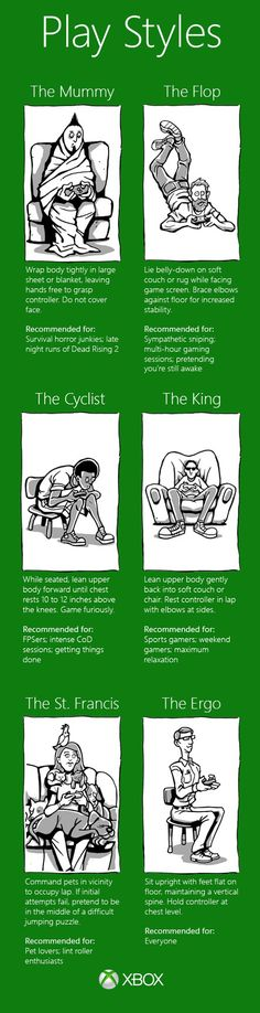 "Gaming Positions: For Halo, I'm "" The Cyclist"" all the way, though I'm not that close to my knees. For everything else, it's ""The King""."
