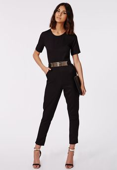 Missguided - Alexa Belted Cap Sleeved Jumpsuit Black