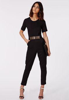 Missguided - Alexa Belted Cap Sleeved Jumpsuit Black