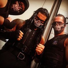The Shield in their new masks before Wrestlemania 30 I realaaallllyy want this for Halloween