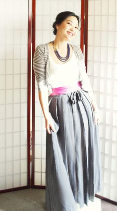 Perfect outfit- just add a navy or deep purple scarf (instead of the necklace) to hijabify it! =D