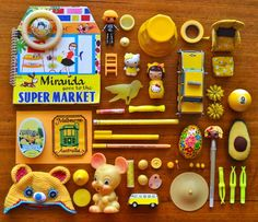 Collection curated by Ngaire Bartlam. Collections Of Objects, Displaying Collections, Inspiration For Kids, Color Inspiration, Recycled Toys, Things Organized Neatly, Yellow Jewelry, Collage, Color Psychology