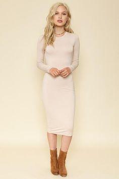 BLQ BASIQ Creme Long Sleeve Midi Dress / Prism Boutique
