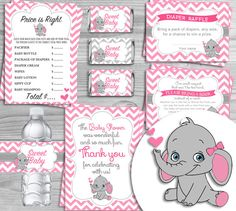 Printable Baby Shower Kit Pink Elephant Theme (7 items) - INSTANT DOWNLOAD 1. MINI CANDY WRAPPERS 2. PRICE IS RIGHT GAME 3. BRING A BOOK