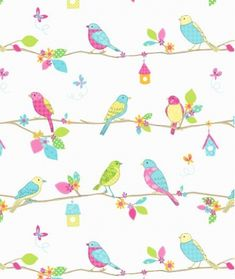 A Fun Kids Wallcovering With Sketches Of Colorful Garden Birds Sitting On Line Different