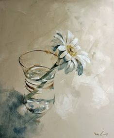 watercolor by Nono Garcia Watercolor Water, Watercolor Art Paintings, Easy Paintings, Floral Watercolor, Watercolors, Still Life Pictures, Flower Line Drawings, Daisy Art, Still Life Flowers