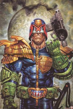 Judge Dredd Pin-Up-Greg Staples Superb Dredd poster by talented art droid,Greg Staples from Prog 2010(16Dec'09).