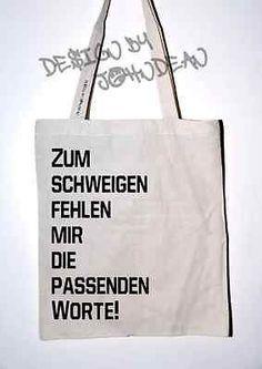 Baumwolltasche Jutebeutel Bag lange Henkel jute Motiv Spruch Text Zum Schweigen