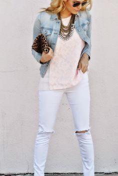 Chronicles of Frivolity: Pink Lace Blush Outfit, Jean Jacket Outfits, Spring Summer Fashion, Spring 2015, Pink Jeans, Looks Style, White Denim, Pink Lace, Curvy Fashion